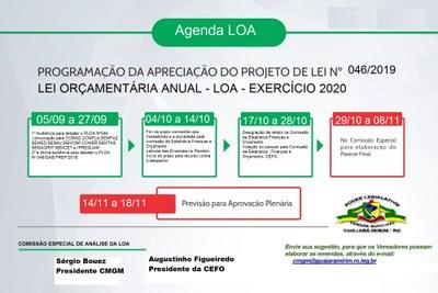 Cronograma para aprovação da Lei Orçamentária Anual - LOA