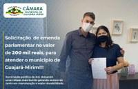 VEREADOR ALEXANDRE MELO SOLICITOU 200 MIL PARA ILUMINAÇÃO DE LEDs PARA ATENDER O MUNICÍPIO DE GUAJARÁ-MIRIM.